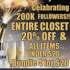 20% off Entire Closet & items under $20 are 4/$20
